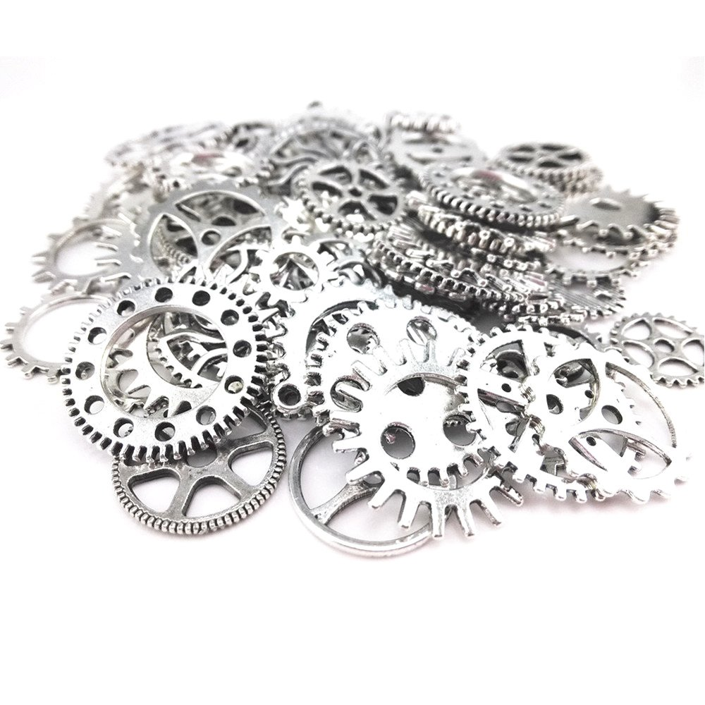 50 Pieces Steam Punk Gears Cog Parts for Altered Art Charms Clock Connectors Pendants Lead Free SSEELL