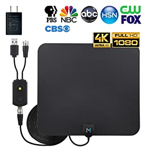 HD Digital TV Antenna for Long Range Signal Reception; Low Noise Amplifier to Boost Signal is Included; Supports All TV formats; 4K, 1080p and More, Mata1 (a USA Company)