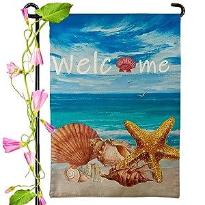 Welcome Garden Flag - Beach Starfish Seashell Bule Sky - Tropical Sweet Home Summer Seasonal Banner For Farmhouse Coast Outdoor Terrace Party Decor