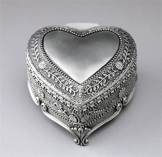 biscount Metal corazón caja de música Vintage Flores Emboss Mini Musical caja para decoración del hogar, oficina Decor, regalo de cumpleaños, aniversario de boda regalo: Amazon.es: Hogar