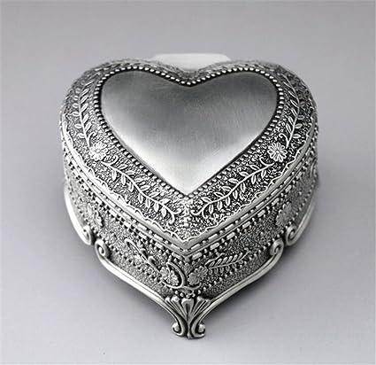 cuzit Metal corazón caja de música Vintage Flores Emboss Mini Musical caja para decoración del hogar, oficina Decor, regalo de cumpleaños, aniversario de boda regalo