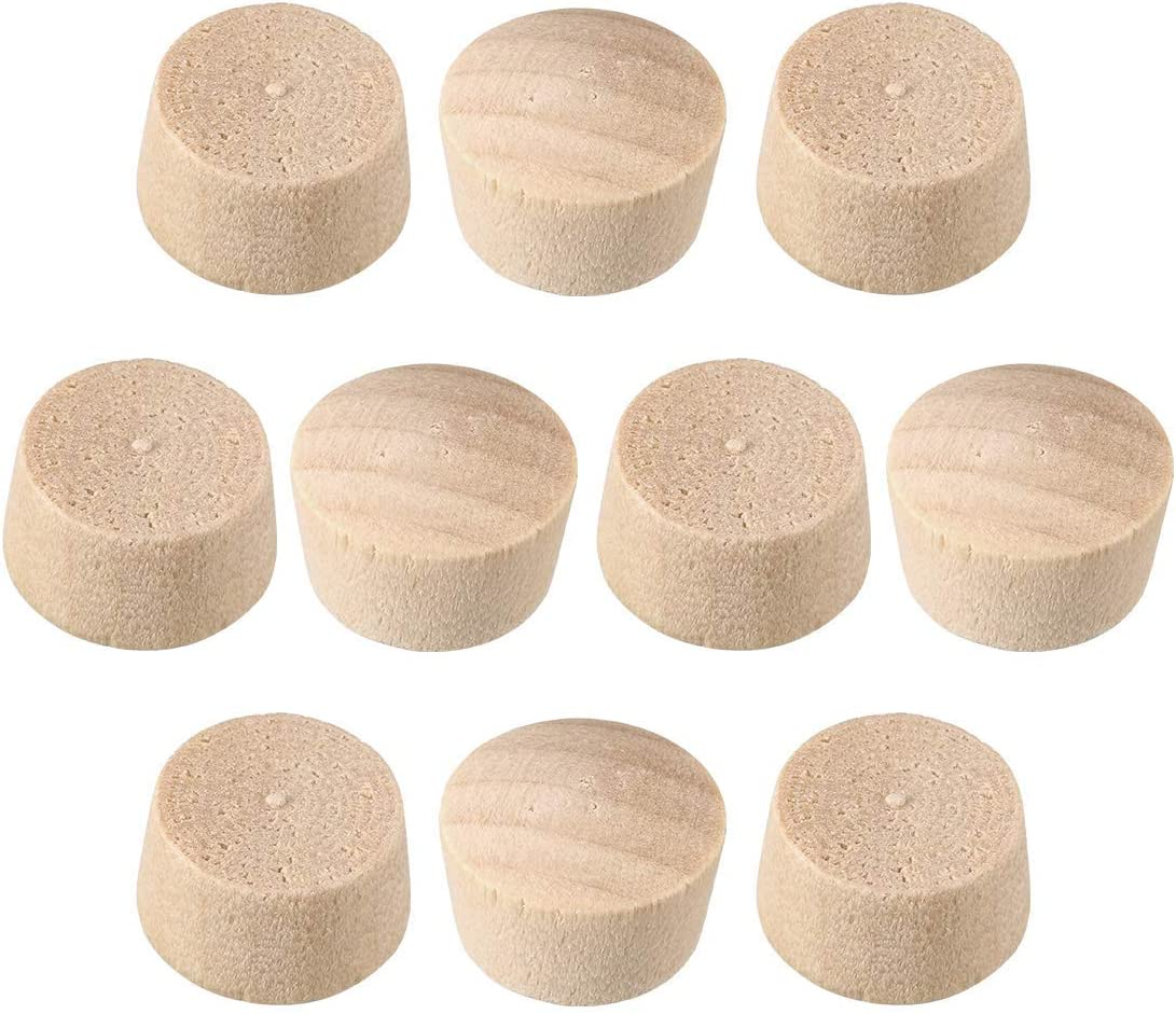 Wood Button Top Plugs 1/2 inch Cherry Wood Furniture Plugs 9/25 inch Height 50 pieces