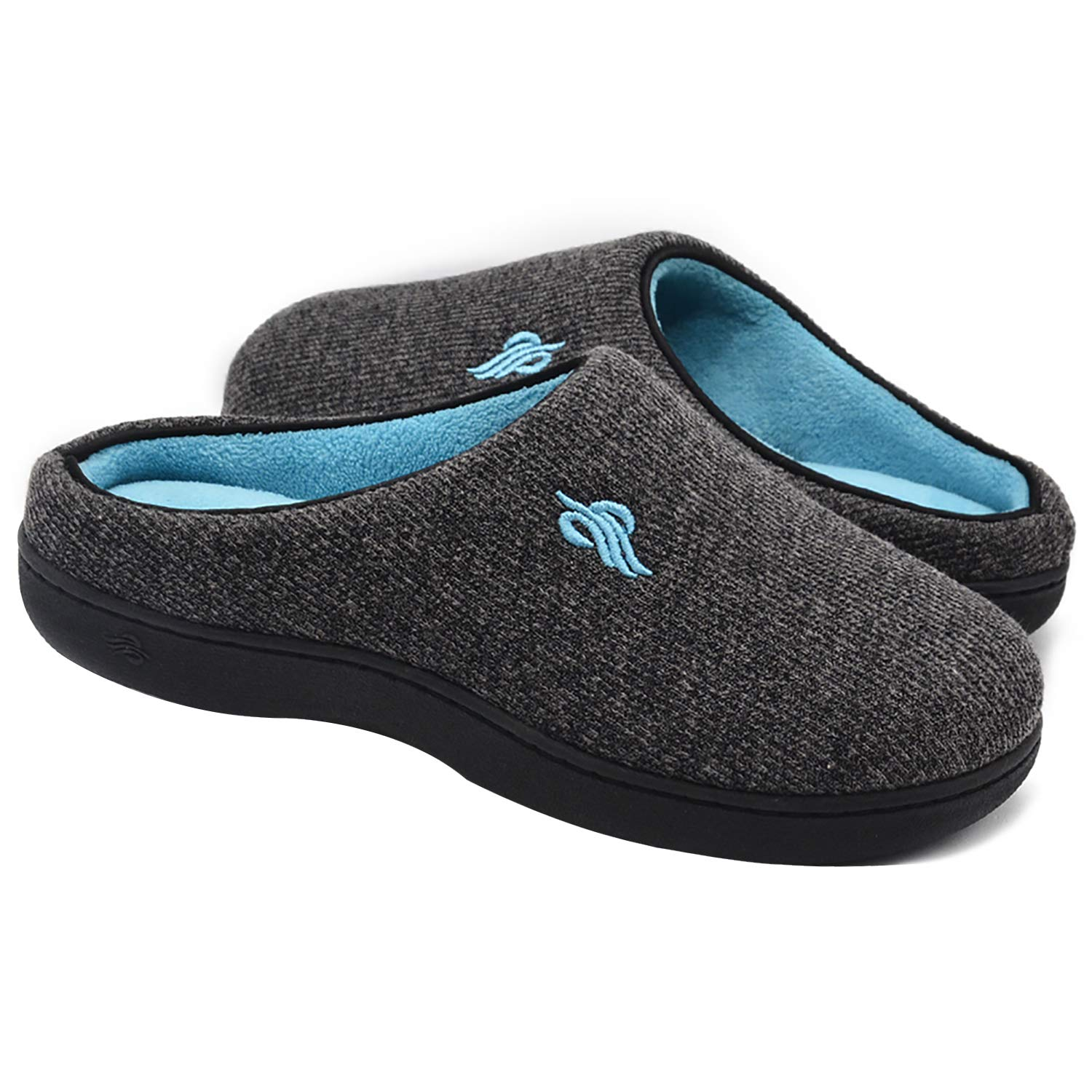 Wishcotton Women's Contrast Color Warm Cotton Slippers with Arch Support Winter Breathable Indoor/Outdoor House Shoes (L, Dark Grey)