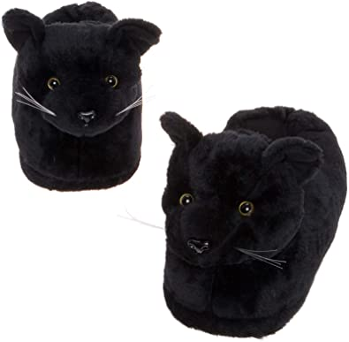 Silver Lilly Black Cat Slippers - Plush Novelty Animal Costume House Shoes  w Comfort Foam 4dc5ca4df