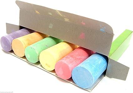 Pack de 6 tizas de colores Jumbo, anti polvo, tiza para pizarra: Amazon.es: Oficina y papelería