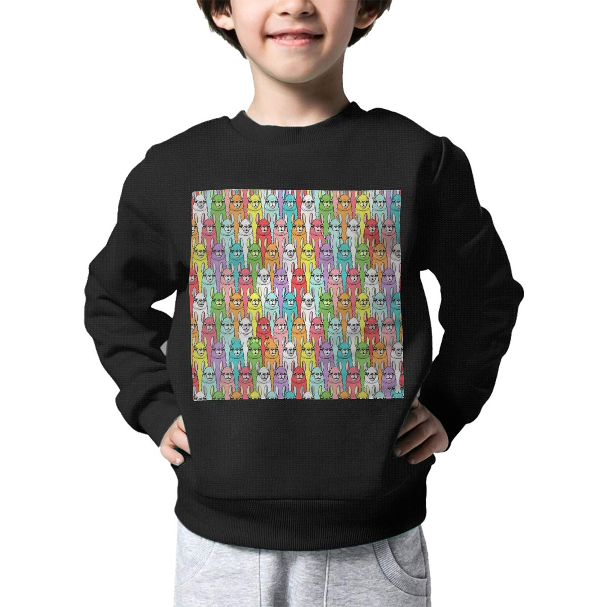 Rainbow Llamas Pattern Printed Baby Girls Kids Crew Neck Sweater Long Sleeve Soft Knitted Sweatshirt