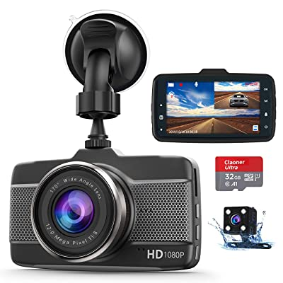 Dash Cam Front and Rear with SD Card (32G) Claoner FHD 1080P Backup Car Camera with Night Vision, 3 Inch IPS Screen, 170° Wide Angle, Loop Recording, G-Sensor, Motion Detection, Parking Monitor: Car Electronics