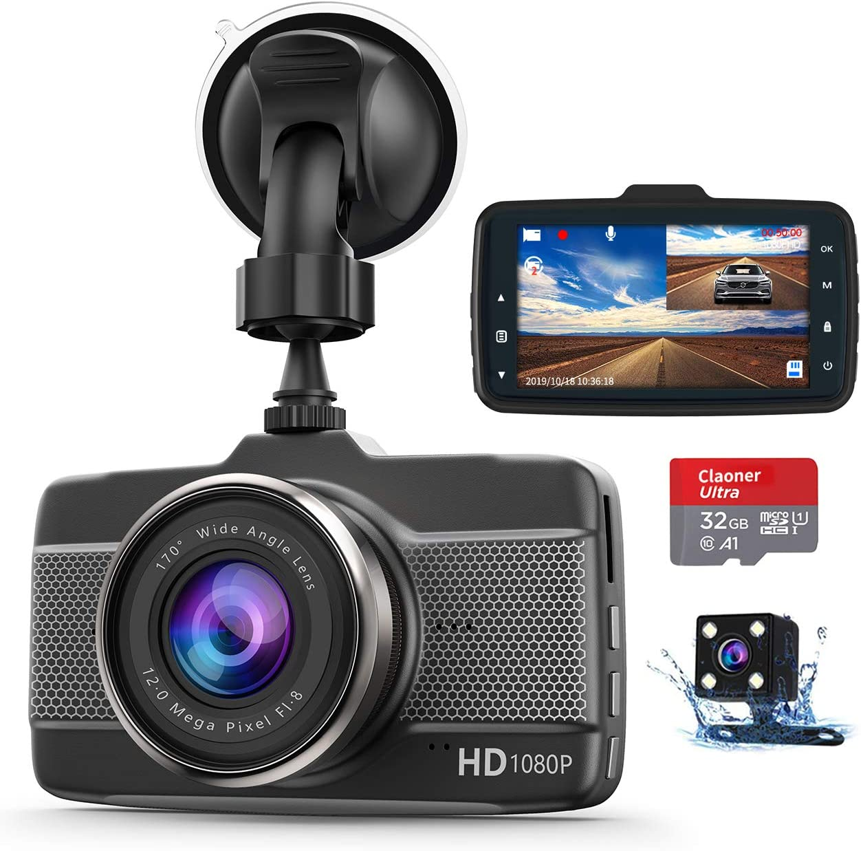 Dash Cam Front and Rear with SD Card (32G) Claoner FHD 1080P Backup Car Camera with Night Vision, 3 Inch IPS Screen, 170° Wide Angle, Loop Recording, G-Sensor, Motion Detection, Parking Monitor