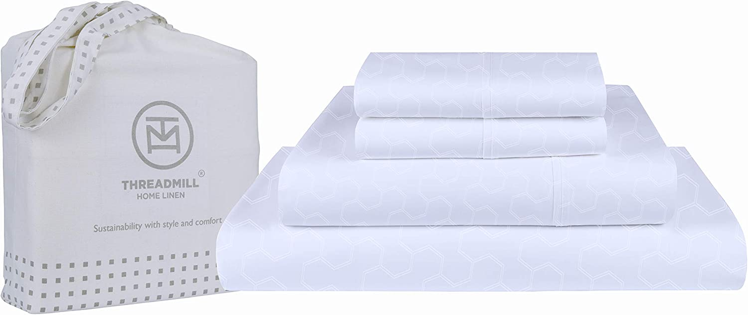 Threadmill Home Linen Twin Sheets - 500 Thread Count Jacquard Weave, 3 Piece Extra Long Staple Cotton Bedding Set, Breathable Floria White Sheets with Elasticized Deep Pocket