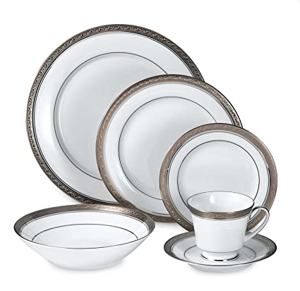 Amazon.com | Noritake Austin Platinum 50-Piece Dinnerware Set ...