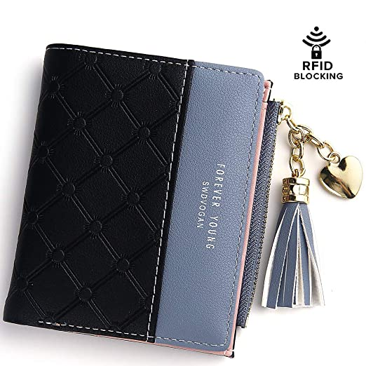 Wallet for Women Small Compact Wallet Bifold, RFID Wallet Credit Card Holder Mini Bifold Pocket Wallet (Black)