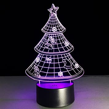 3d christmas tree night light illusion lamp 7 color change led touch usb table gift kids