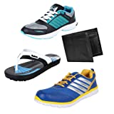 Earton Men Combo Pack of 4 Sports Shoe With Wallet & Slipper
