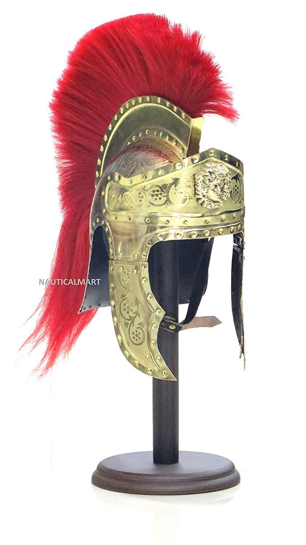 NAUTICALMART Roman Emperors Praetorian Guard Medieval Brass Helmet with Red Plume