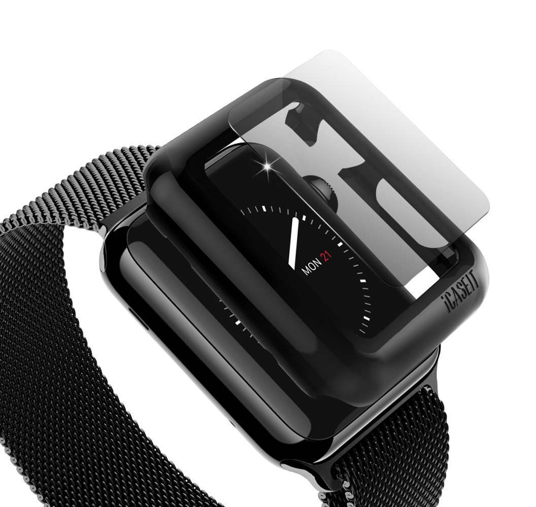 Apple Watch Case Screen Protector: 38mm (Pack of 3) - iCASEIT Bumper with Glass for full face Protection Cases (Include 3 Screen Protectors) iWatch Cases 38 mm - Black x 3