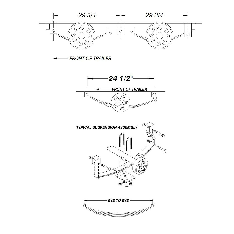 5.2k-5200 Lb Capacity 12x2 Electric Brake Trailer Axle 6 Lug-Dexter Compatible (Assembled Brake Axle, 95'' Hubface-80 Spring Center(6'10Frame)) by TK Axles+