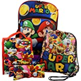 Super Mario Boys Girls 5 piece Backpack Lunch Bag and Snack Bag School Set