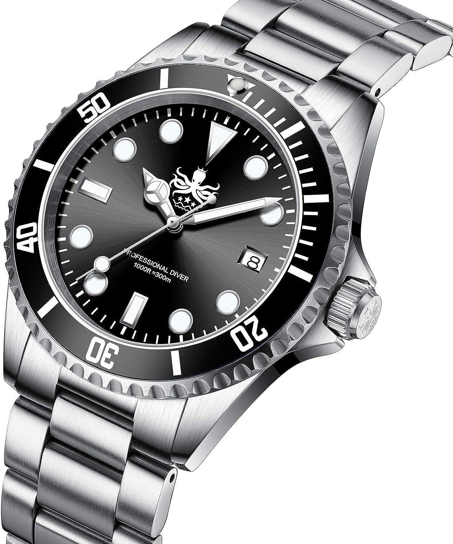 Phoibos Men s PX002C 300M Dive Watch Swiss Quartz Black Sport Watch