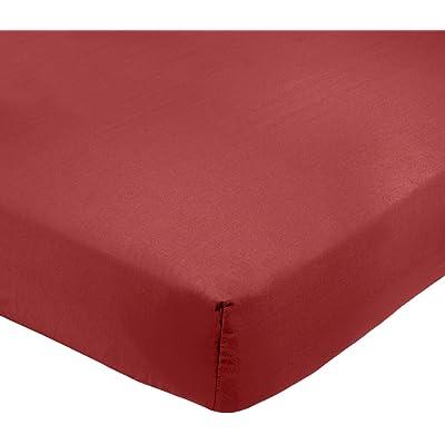 AmazonBasics - Sábana bajera ajustable (polialgodón 200 hilos) Burdeos - 90 x 190 x 30 cm