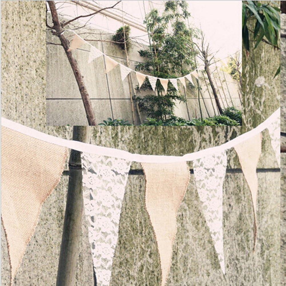 f/ür Hochzeit // Geburtstag // Garten-Dekorationen etc Spitze 3/m rustikale Optik Leinen Vintage-Wimpelkette ST 1
