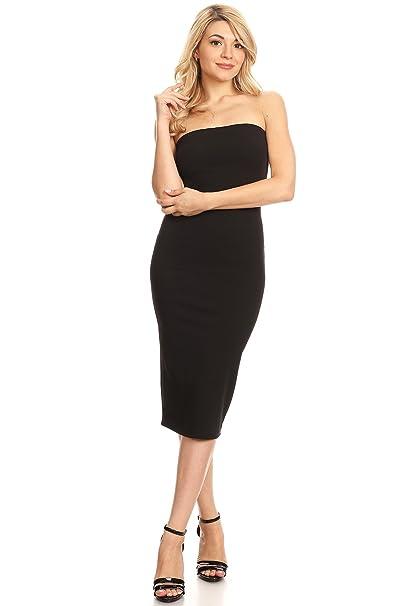 888b0dcdcba Women s Casual Solid Comfy Sexy Strapless Midi Bodycon Tube Dress ...