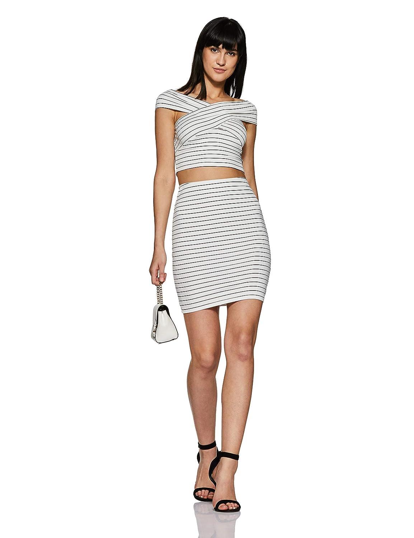 Veni VIDI VICI White Striped Bandage Bardot Bodycon Co-Ordinate Dress   Amazon.in  Clothing   Accessories 11e2f80cb