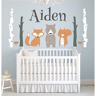 "Lovely Decals World LLC Custom Woodland Animals Name Wall Decal Forest Nursery Baby Room Mural Art Decor Vinyl Sticker LD10 (42"" W x 22"" H): Home & Kitchen"