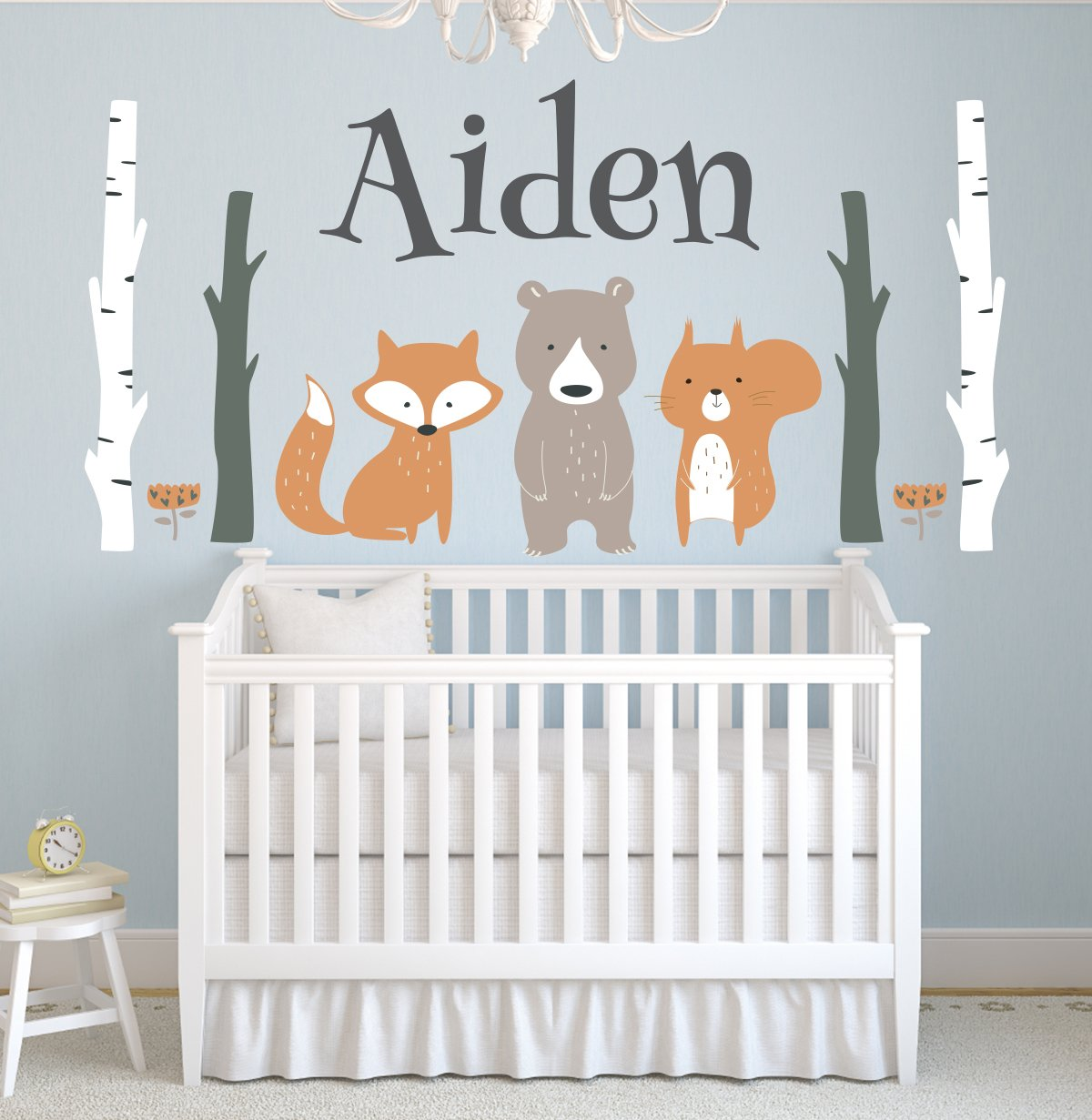 Custom Woodland Animals Name Wall Decal Forest Nursery Baby Room Mural Art Decor Vinyl Sticker LD10 (42''W x 22''H) by Lovely Decals World LLC (Image #1)