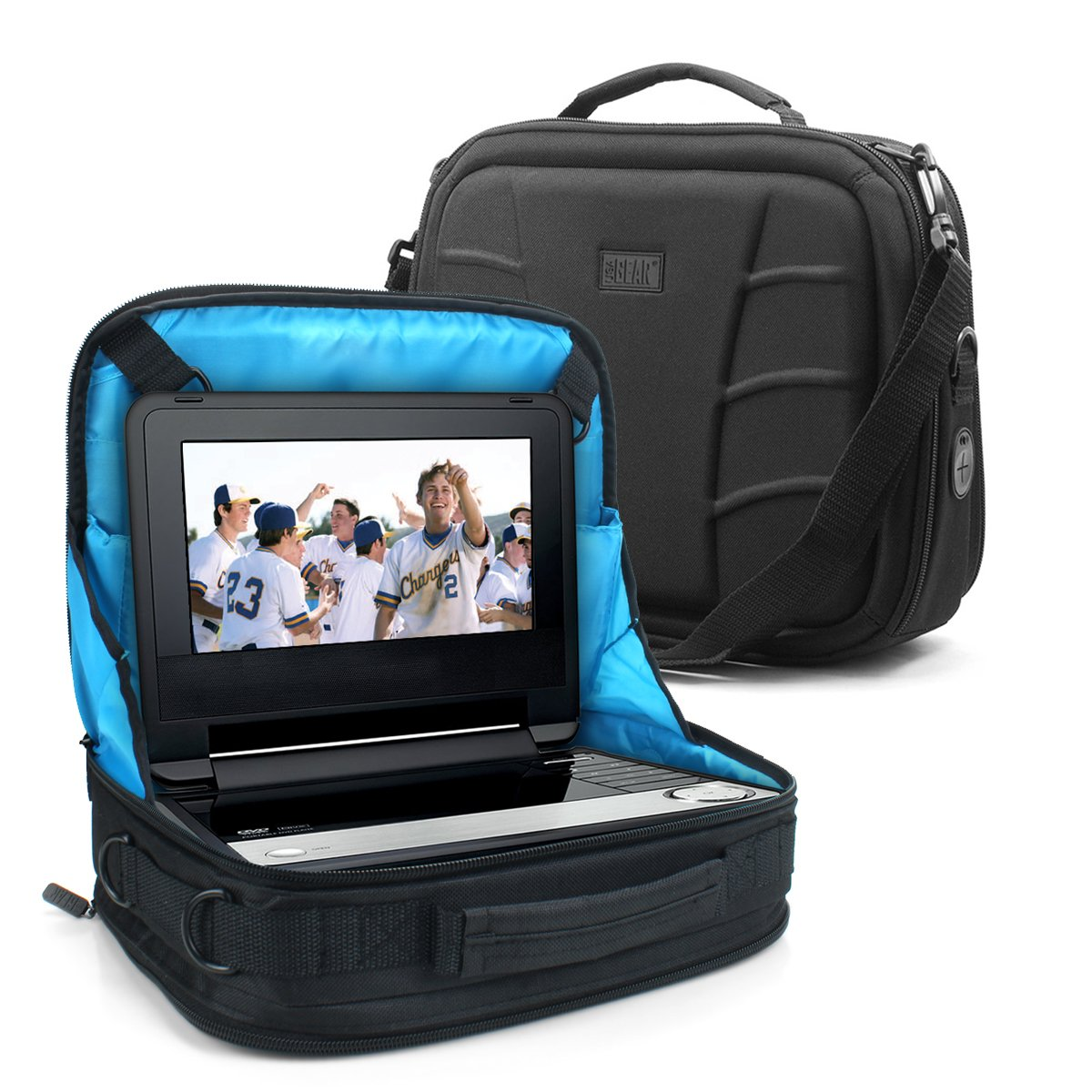 """Portable DVD Player Headrest Car Mount Display Case by USA Gear - Storage Bag Fits DBPOWER 9.5 Inch, Sylvania SDVD10408, Ematic EPD909, Azend BDP-M1061, Sony BDPSX910, more 7-10"""" Blu-ray/DVD Players"""