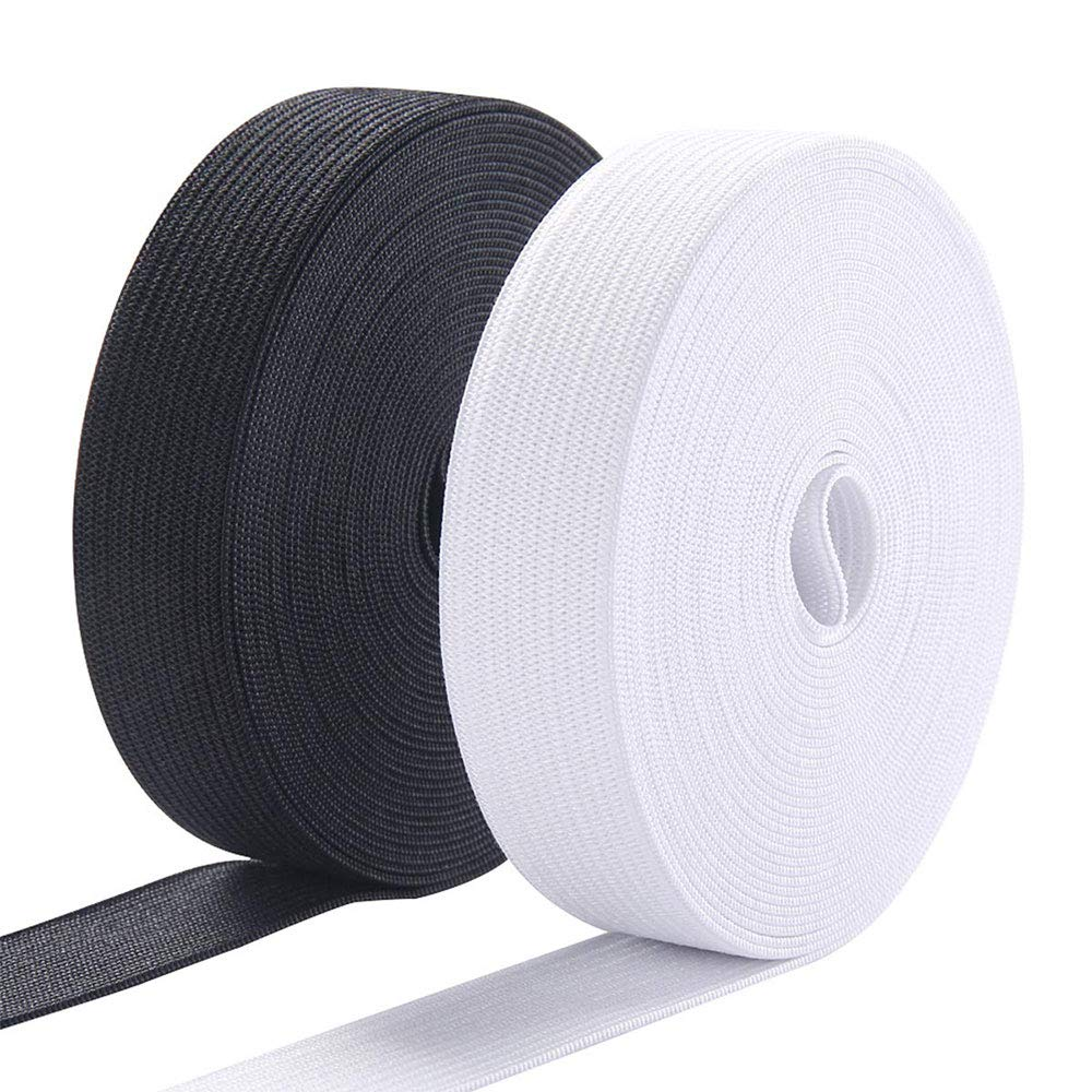 Black /& White 1 Inch Elastic Spool Knit/ / Bands for Sewing 11Yard X 2 Pack
