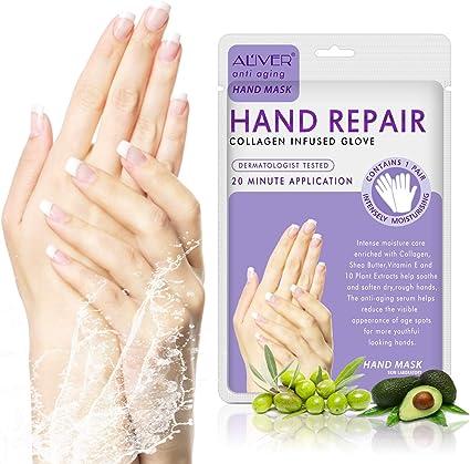 3 pares manos guantes hidratantes, reparación de la piel de la mano renovar máscara con colágeno, suero + vitaminas + extractos de plantas naturales para seco, envejecimiento, manos agrietadas: Amazon.es: Belleza