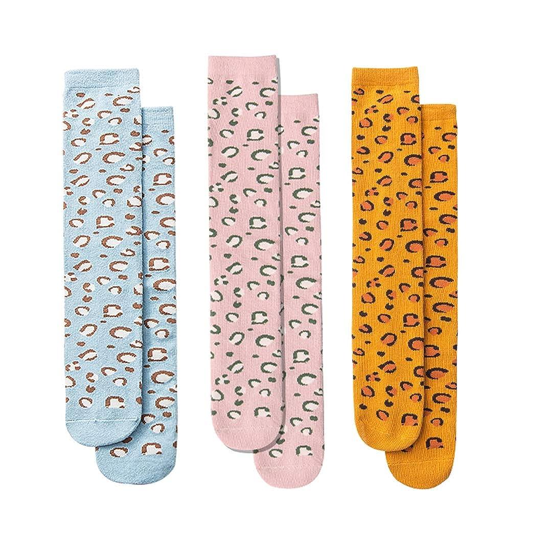 Lumsinker 3 Paia Leopardo Ragazze Ginocchio Alto Calzini Bambini Cotone Lungo Calze Per 3-12 Anni
