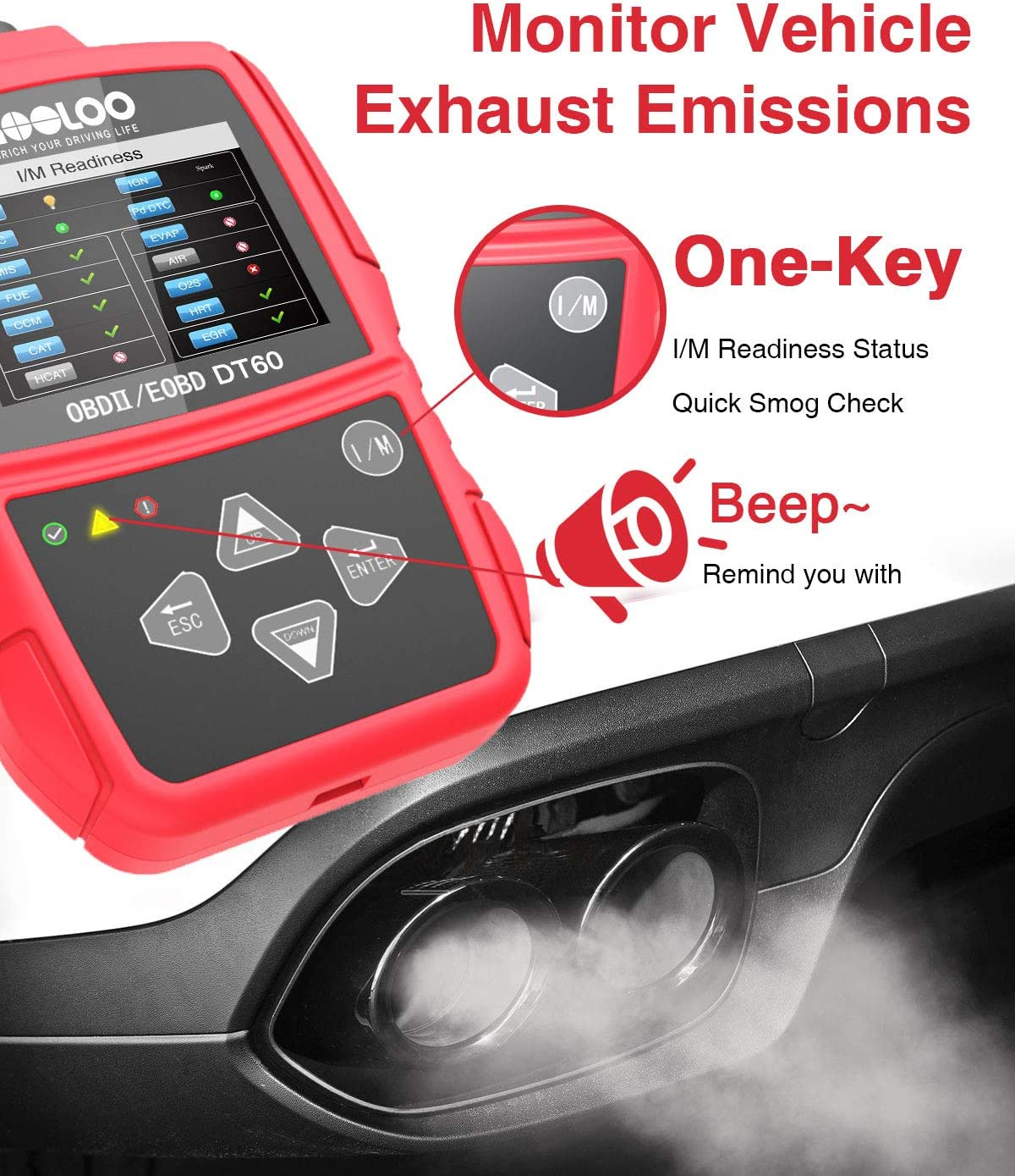 GOOLOO OBD2 Scanner Code Reader OBD II Scan Tool Diagnostics Automotive Engine Light Fault Car I//M Readiness Status and Quick Smog Check for CAN PWM KWP2000 Vehicles DT65