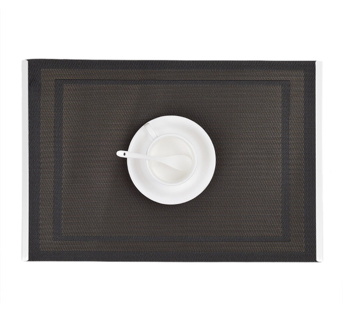 Table Mats with Stainless Steel Edge Cover Both Sides (Set of 6), EgoEra Place Mats Sets Table Place Dinner Mats Washable Plastic Vinyl Table Mats for Dining / Kitchen Table, 4530cm, Black
