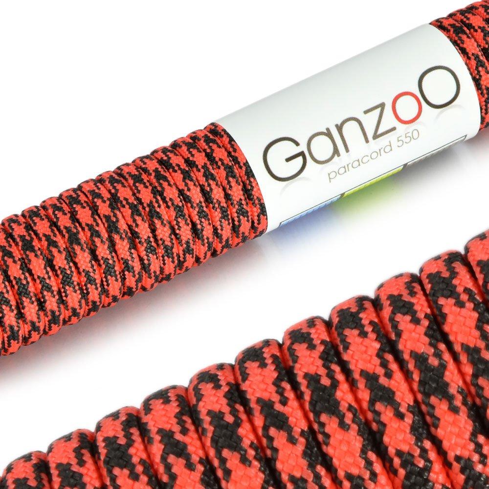 Ganzoo - Cuerda universal de supervivencia, fabricada en paracord 550, 550 lbs, 31 m, color rojo y negro #5011ro_sw