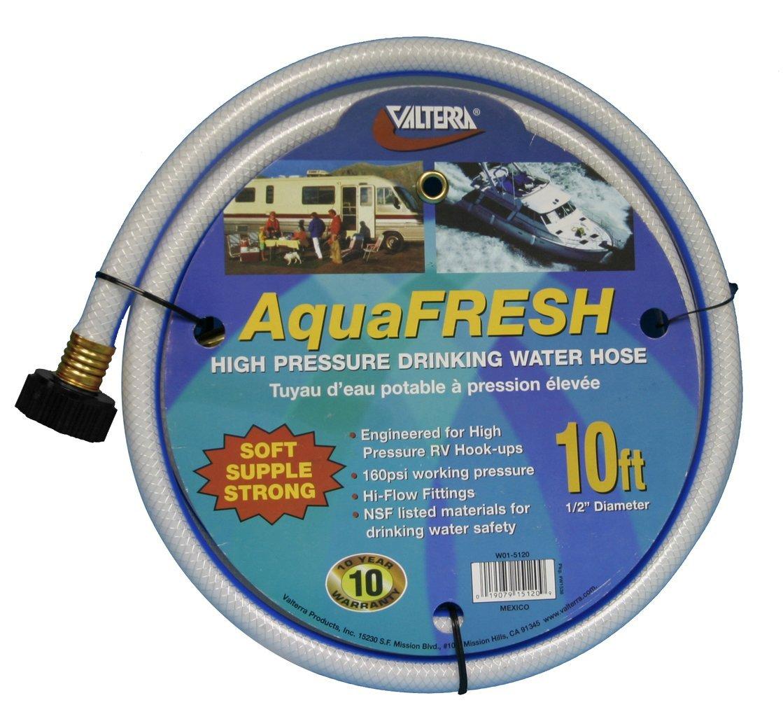 ValterraAquaFresh High Pressure Drinking Water Hose, Water Hose Hookup for RV - 1/2'' x 10', White (1/2 Inch x 10 Feet(Quantity 4))