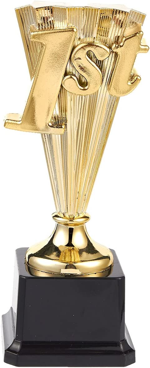 Juvale Award Trophy - 1st Place Gold Plastic Trophy for Sports Tournaments, Competitions, (8 in)