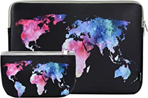 Laptop Sleeve 15 Inch Neoprene Laptop Sleeve Bag MacBook Pro 15 Inch A1707 A1990 Sleeve 15 Inch Protective Neoprene Sleeve Case Electronics Accessories Organzier Bag Case Pouch (Map Black)