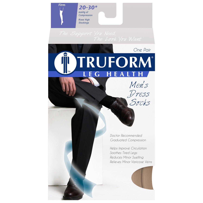 Truform Men's Knee High 20-30 mmHg Compression Dress Socks, Tan, X-Large by Truform (Image #3)