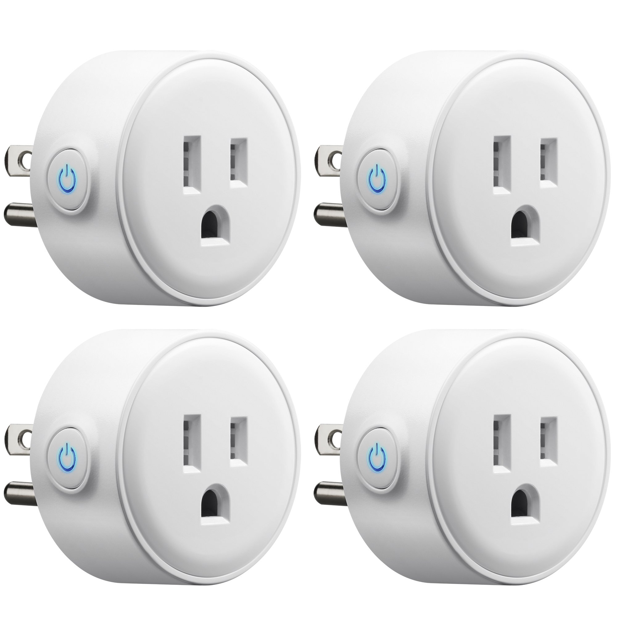 GMYLE 4 Pack Wifi Smart Plug Mini Outlet Power Control Socket, Remote Control Your Electric Devices from Anywhere, No Hub Required, Work with Amazon Alexa Echo Dot & Google Home, White by GMYLE