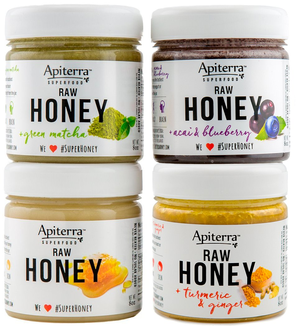 Honey Gift Set with SUPERFOODS - Honey Spread, Jam & Jelly Gift Set - 32 Ounce by Apiterra