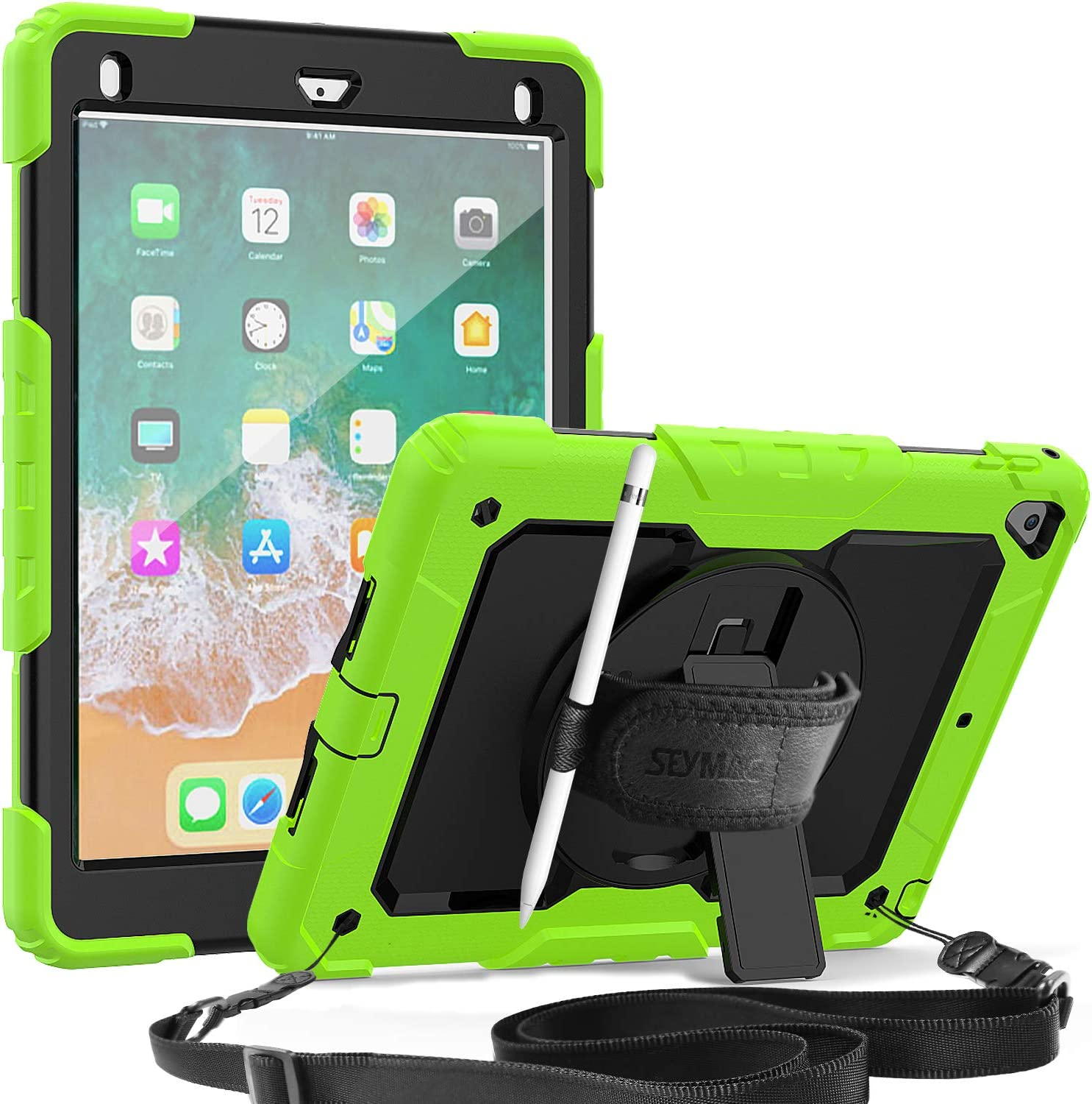 SEYMAC iPad 5th/6th Gen Case, 3 Layer Shockproof Case with Built-in Screen Protector Pencil Holder, 360 Degree Rotatable Stand & Hand Strap, Shoulder Strap for iPad 9.7 inch/Pro 9.7/Air 2-Green/Black