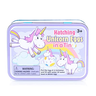 Hatching Unicorn Rainbow Egg Multicolored, Tin of 2 Eggs. Girls Birthday, Stocking Stuffer, Party Favor: Toys & Games