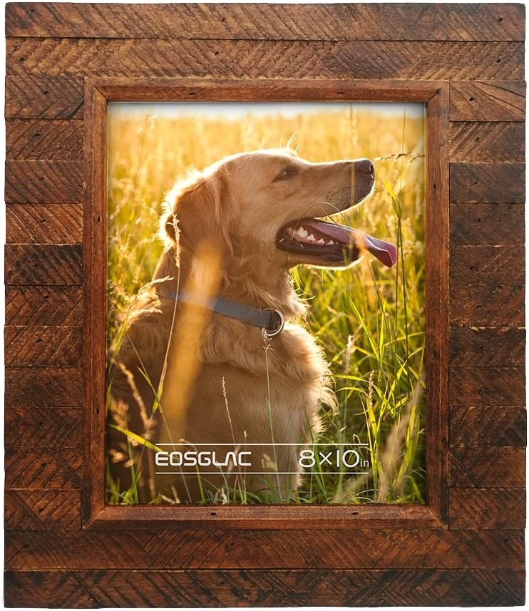 Eosglac Wooden Picture Frame 8x10 inch, Wood Plank Design with Rustic Brown Finish, Wall Mounting or Tabletop Display, Handmade Photo Frame