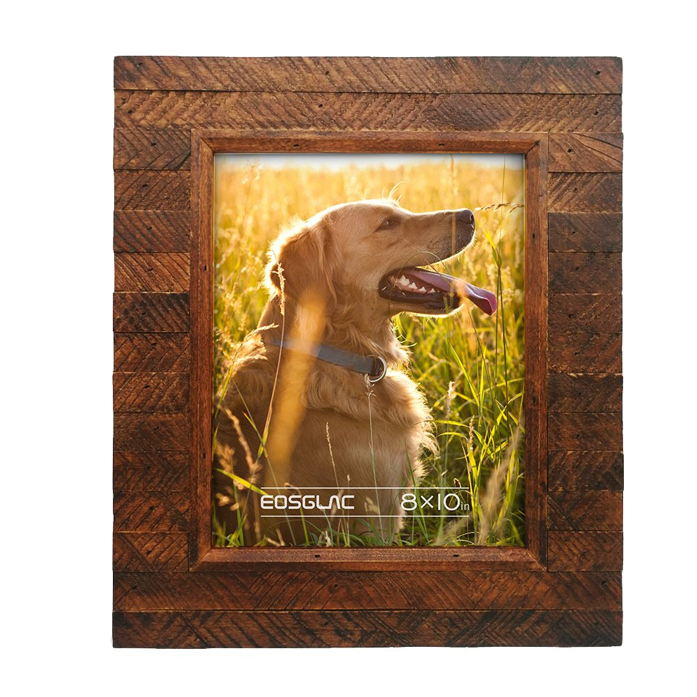 Eosglac Wooden Picture Frame 8x10 inch, Wood Plank Design with Rustic Brown Finish, Wall Mounting or Tabletop Display, Handcrafted Photo Frame