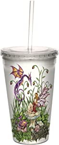 Fantasy Birth of Magic Fairy and Dragon Double Walled Cool Travel Cup with Reusable Straw by Amy Brown, 16-Ounce - Gift - Tree-Free Greetings