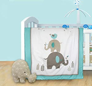 Cuddles & Cribs Nursery Bedding - Reversible Baby Comforter and Shaped Cushion - 2 Piece, Elephant Family