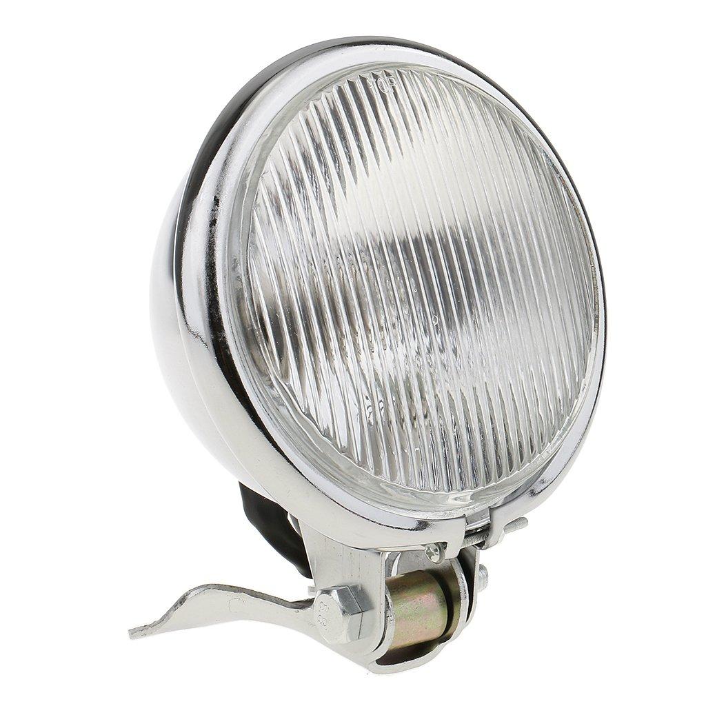 Blanco Vidrio 12.5CM x 8.5CM Plata MagiDeal Accesorios de Motocicleta Faro Delantero Luz de LED /ámbar Con Vidrio Amarillo//Blanco Para Harley