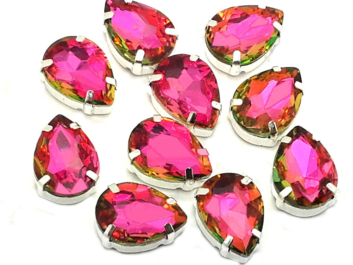 Pack of 10 (13mm x 18mm, Hot Pink Teardrop), Swarovski Alternative, EIMASS Exquisite Multi Shape Sew on Glue on Point Back Glass Crystals in Silver Settings