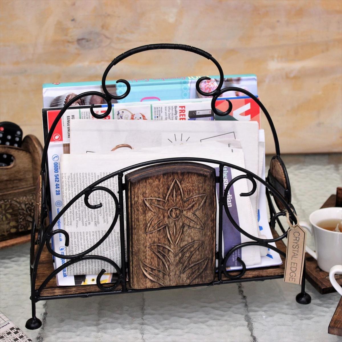 Shimsha Magazine Rack Iron and Mango Wood Leaf Carved Newspapers Gift Handmade